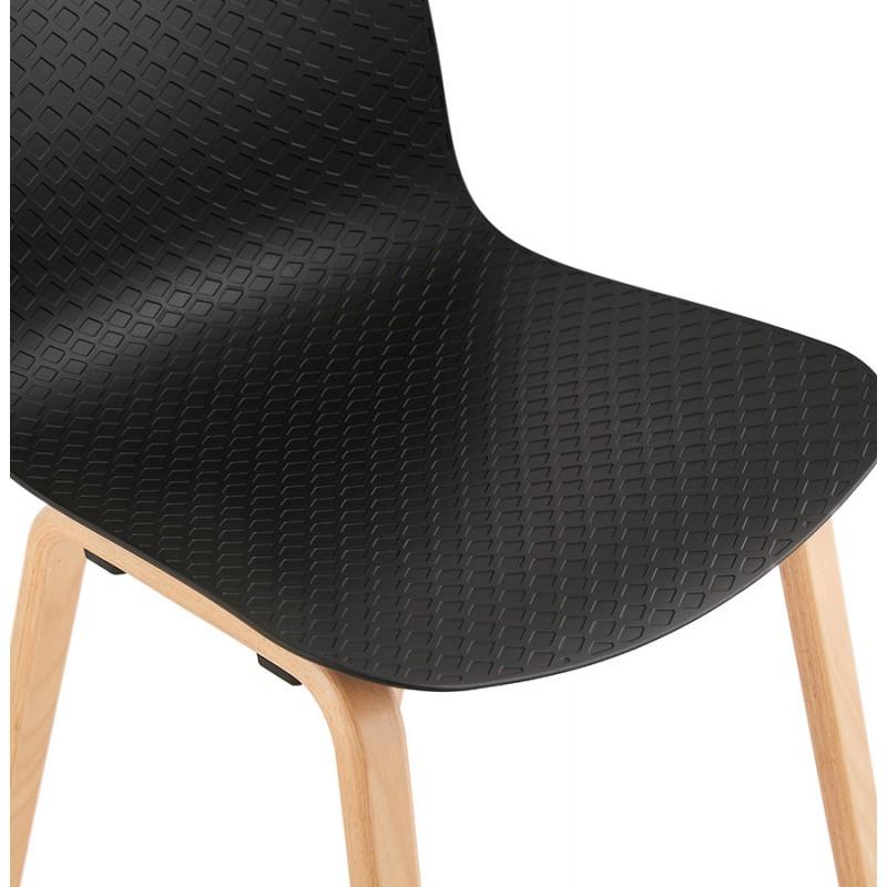 Silla de diseño escandinavo pie de madera acabado natural SANDY (negro) - image 48074