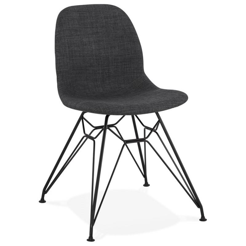 Silla de diseño de tela de pie de metal negro MOUNA (gris antracita) - image 48106