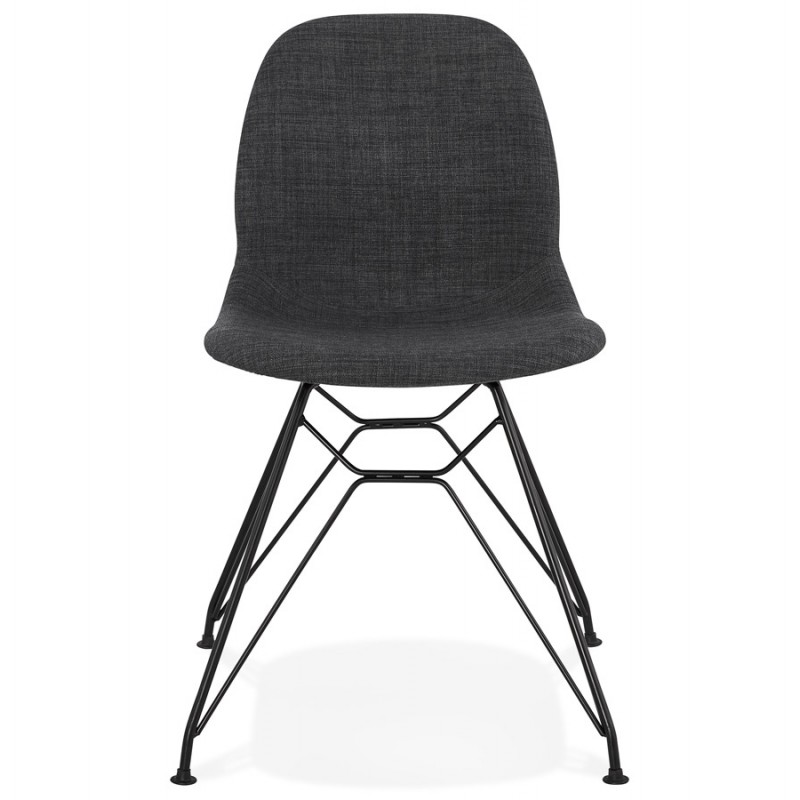 Silla de diseño de tela de pie de metal negro MOUNA (gris antracita) - image 48107