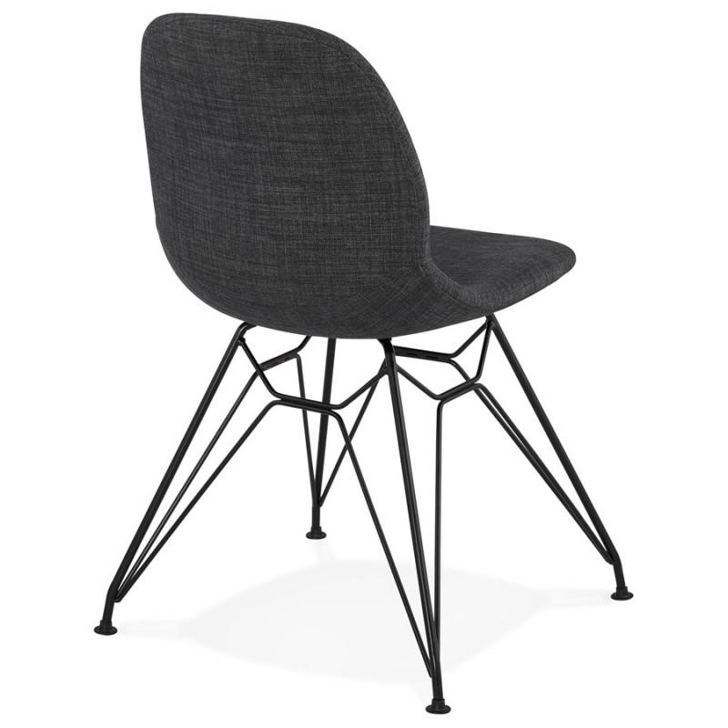 Silla de diseño de tela de pie de metal negro MOUNA (gris antracita) - image 48109