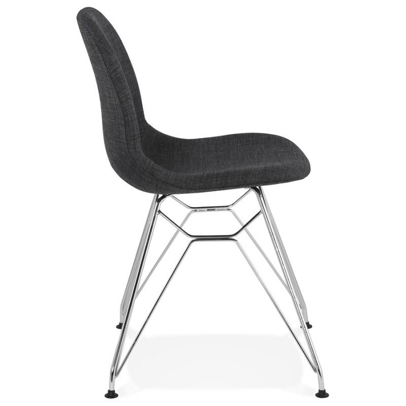 Chaise design industrielle en tissu pieds métal chromé MOUNA (gris anthracite) - image 48121