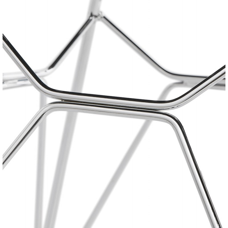 Chaise design industrielle en tissu pieds métal chromé MOUNA (gris anthracite) - image 48129