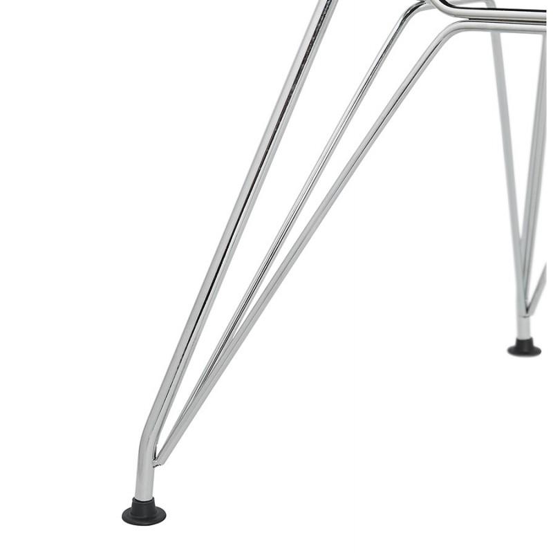 Chaise design industrielle en tissu pieds métal chromé MOUNA (gris anthracite) - image 48130