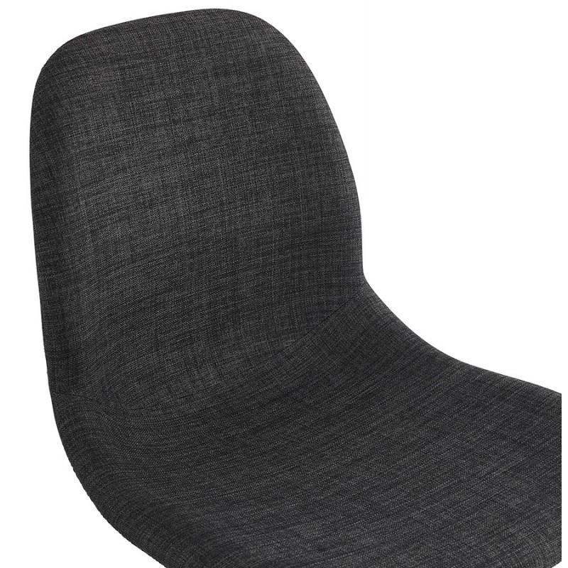 Chaise design industrielle en tissu pieds métal blanc MOUNA (gris anthracite) - image 48137