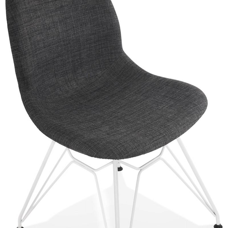 Chaise design industrielle en tissu pieds métal blanc MOUNA (gris anthracite) - image 48138