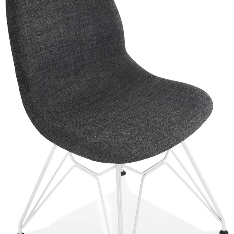 MOUNA weiß Metall Fuß Stoff Design Stuhl (anthrazitgrau) - image 48138