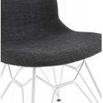 Chaise design industrielle en tissu pieds métal blanc MOUNA (gris anthracite)