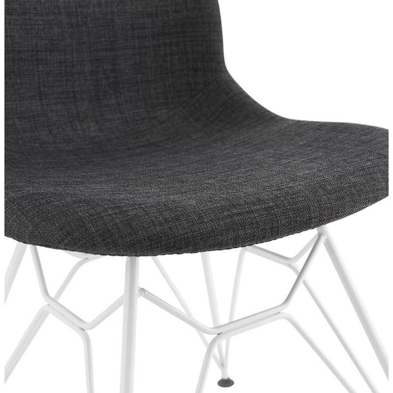 Chaise design industrielle en tissu pieds métal blanc MOUNA (gris anthracite) - image 48139