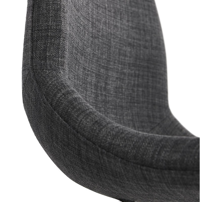 Chaise design industrielle en tissu pieds métal blanc MOUNA (gris anthracite) - image 48141