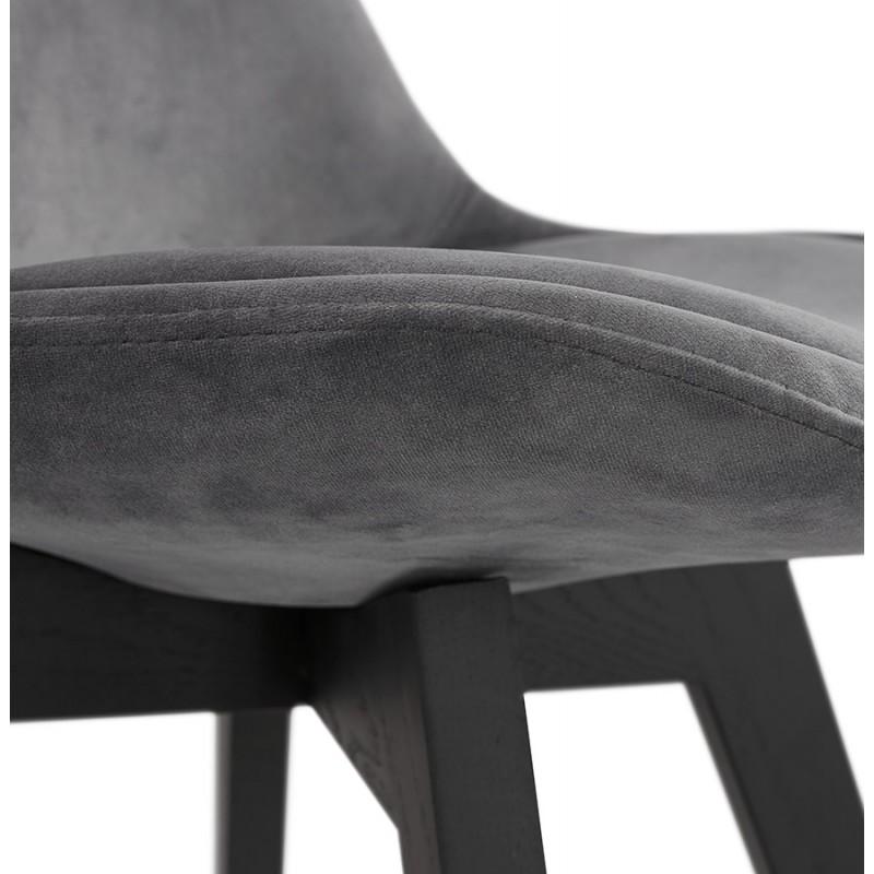 Silla vintage e industrial en terciopelo negro pies LEONORA (gris oscuro) - image 48193