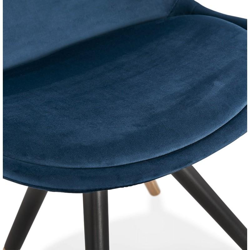 Chaise vintage et rétro en velours pieds noirs et dorés SUZON (bleu) - image 48230
