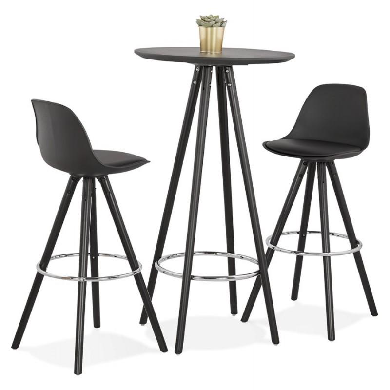 Tabouret de bar chaise de bar design pieds noirs OCTAVE (noir) - image 48249