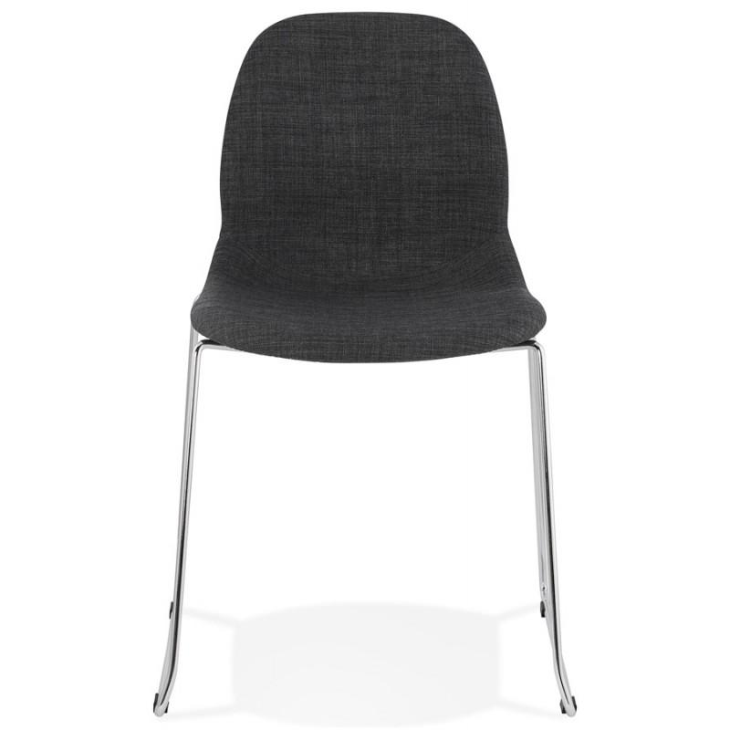Chaise design empilable en tissu pieds métal chromé MANOU (gris antracite)