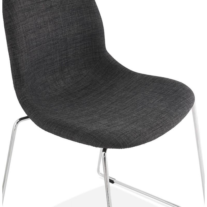 Chaise design empilable en tissu pieds métal chromé MANOU (gris antracite) - image 48265