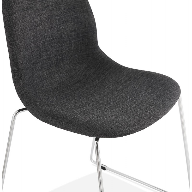 Chaise diseño empilable en tissu pieds métal chromé MANOU (gris anthracite) - image 48265