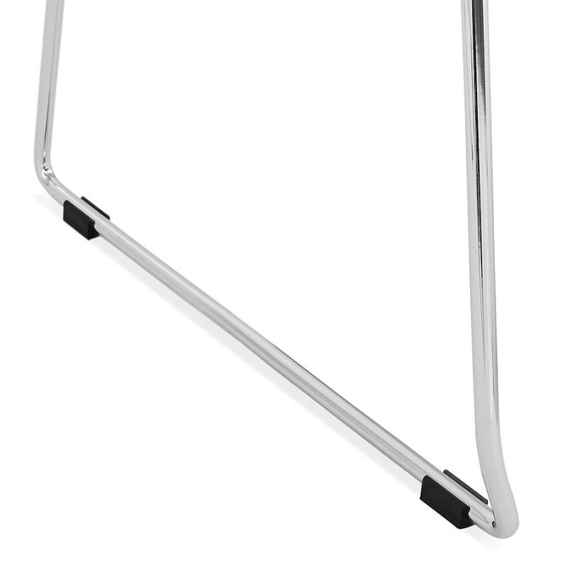 Chaise design empilable en tissu pieds métal chromé MANOU (gris antracite) - image 48270
