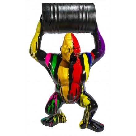 Statue sculpture décorative design GORILLE TONNEAU en résine H140 cm (Multicolore)