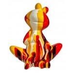 Statue sculpture décorative design GRENOUILLE ASSISE TRASH en résine H50 cm (Multicolore)