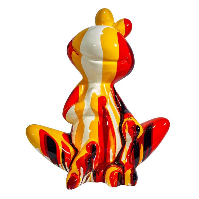 Statue sculpture décorative design GRENOUILLE ASSISE TRASH en résine H50 cm (Multicolore) - image 48276