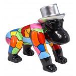 Escaloarte decorativo escultura diseño GORILLE 4 PATTES en resina H40 cm (Multicolor)
