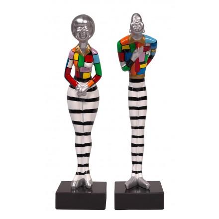 Set de 2 Statues sculptures décoratives design COUPLE en résine H48 cm (Multicolore)