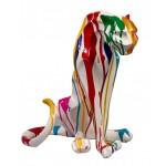 Statua scultura decorativa disegno PANTHERE TRASH resina H55cm (Multicolore)