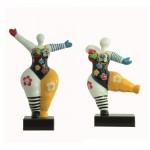 Set von 2 Statuen dekorative Skulpturen Design FRAUEN FLEURS aus Harz H34 cm (mehrfarbig)