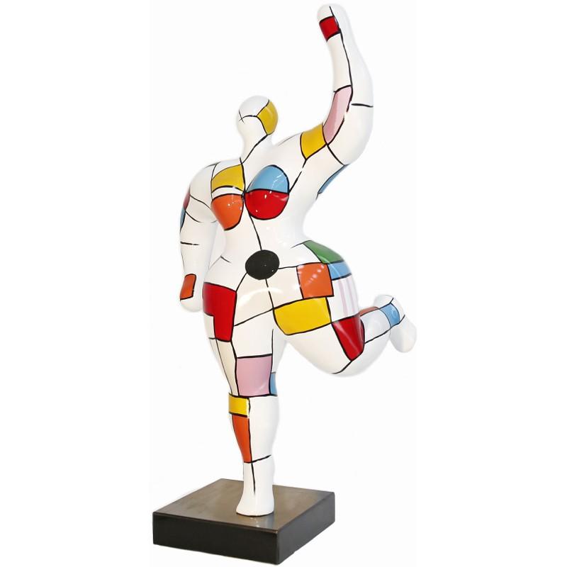 Statua scultura decorativa donna ARLEQUIN in resina H88 cm (Multicolore)
