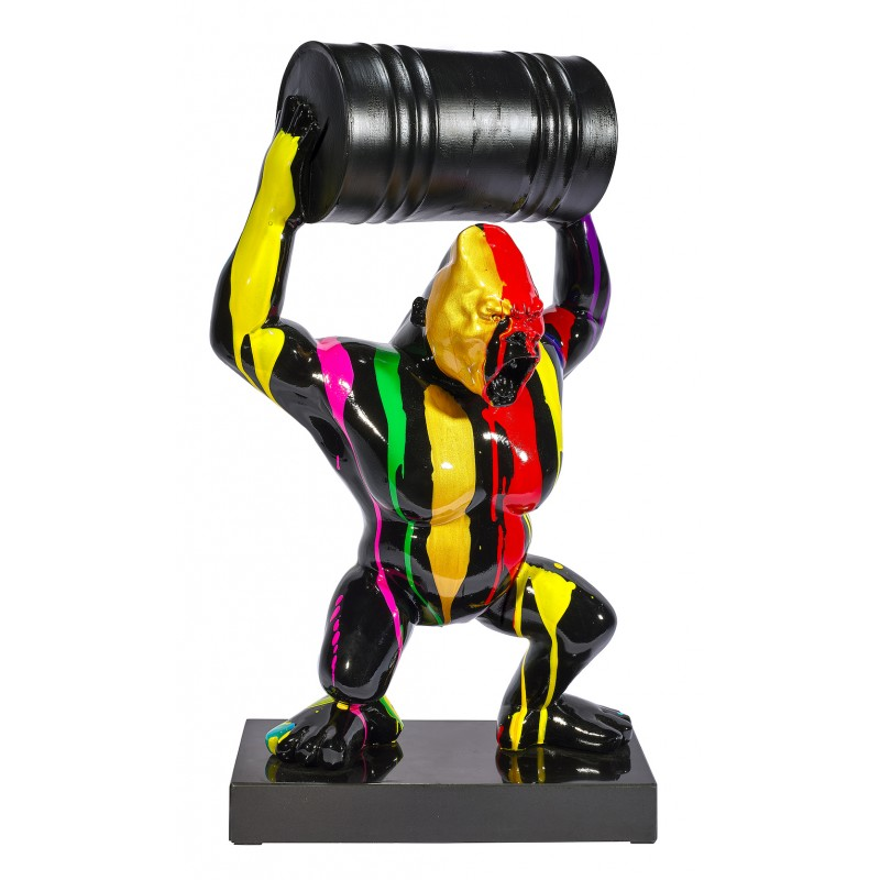 Statue sculpture décorative design GORILLE TRASH en résine H60 cm (Multicolore)