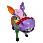 Statue sculpture décorative design CHEVAL POP ART en résine H54 cm (Multicolore)