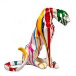 Statue sculpture décorative design PANTHERE TRASH en résine H55cm (Multicolore)