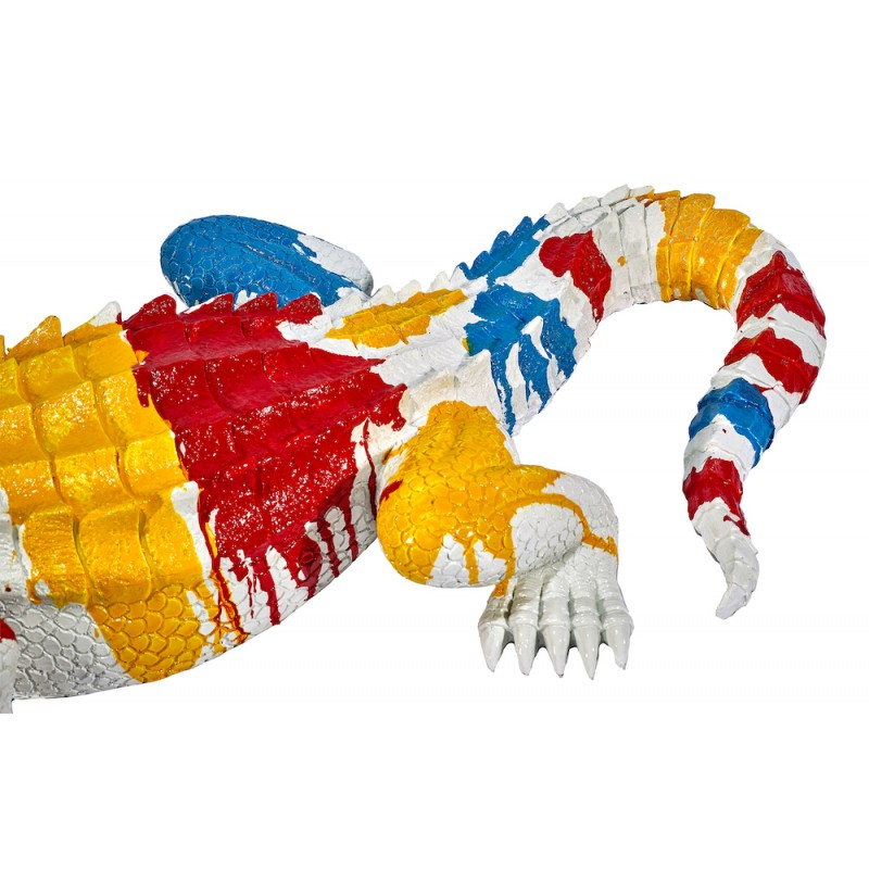 Statue sculpture décorative design CROCODILE en résine (Multicolore) - image 48339