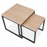 PRESCILLIA wooden and black metal tables (natural finish)