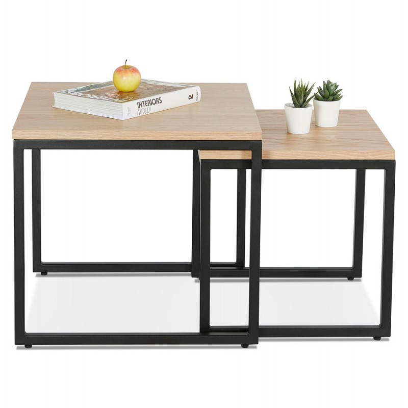 Tables gigognes en bois et métal noir PRESCILLIA (finition naturelle) - image 48359