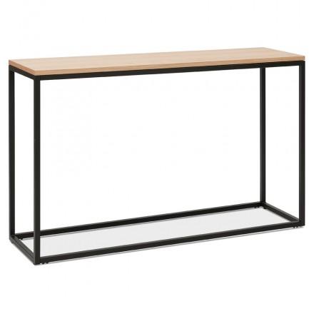 Console di design in legno e metallo nero ROSALINE (finitura naturale)
