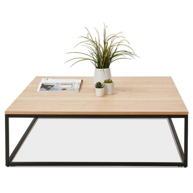 Mesa de centro de diseño de madera y metal negro ROXY (acabado natural) - image 48381
