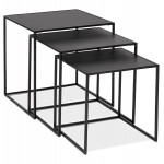 Set of 3 Tables gigognes industrial style in wood and black metal ROSY (black)