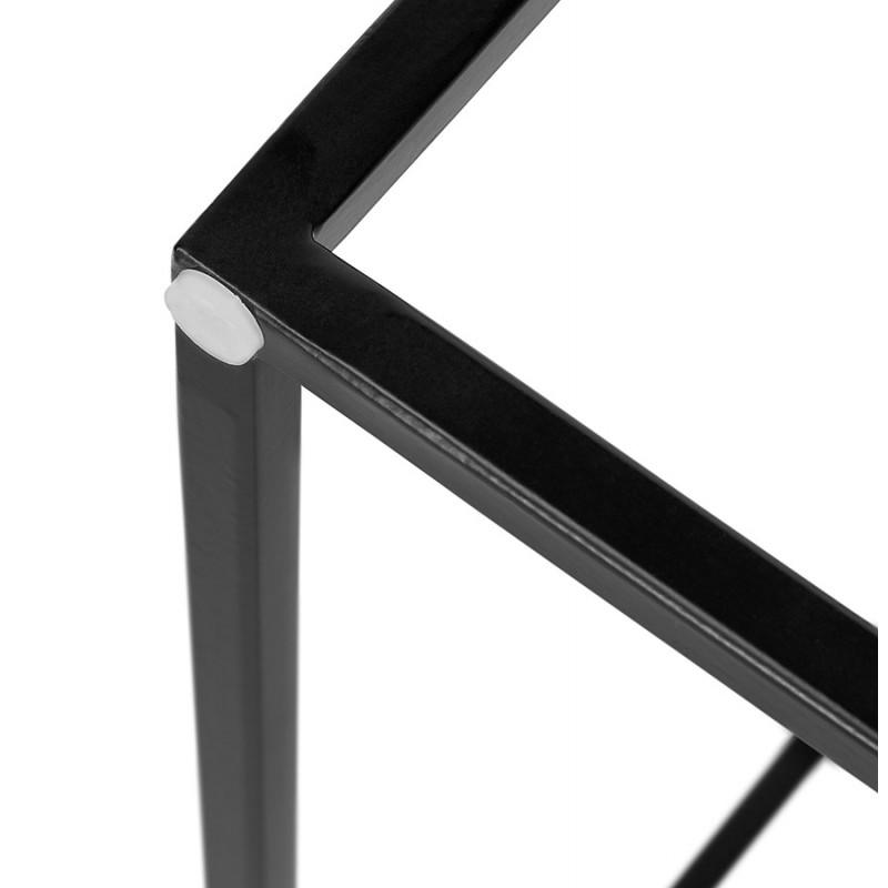 Satz von 3 Tische Gigognes Industriestil in Holz und schwarz Metall ROSY (schwarz) - image 48393