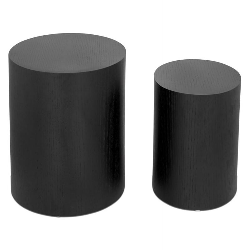 Conjunto de 2 mesas laterales diseño madera russeL (negro) - image 48397