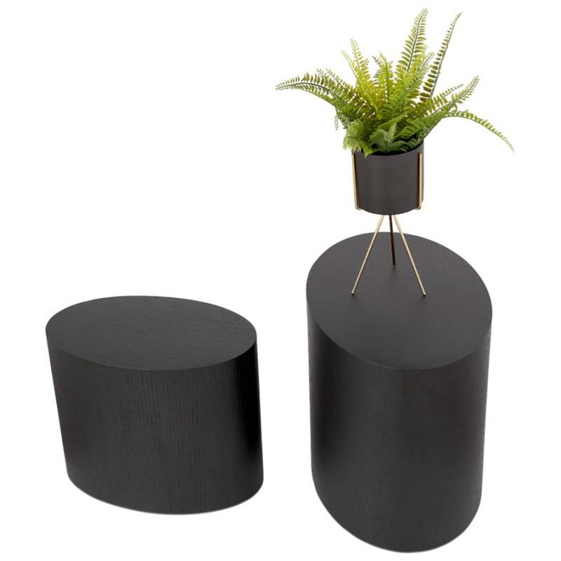Set von 2 Beistelltischen Design russeL Holz (schwarz) - image 48401