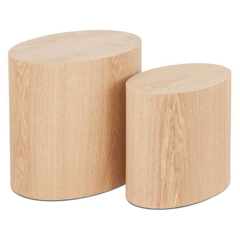 Juego de 2 mesas laterales de diseño de madera RUSSEL (acabado natural) - image 48402