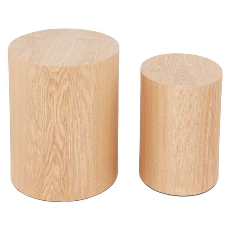 Juego de 2 mesas laterales de diseño de madera RUSSEL (acabado natural) - image 48404