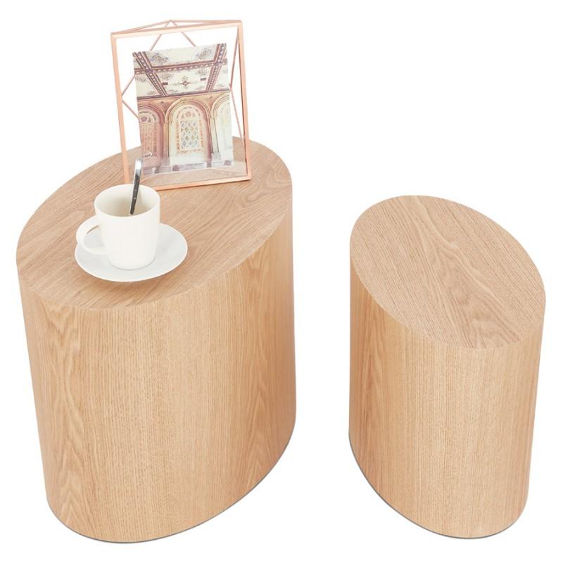 Juego de 2 mesas laterales de diseño de madera RUSSEL (acabado natural) - image 48408