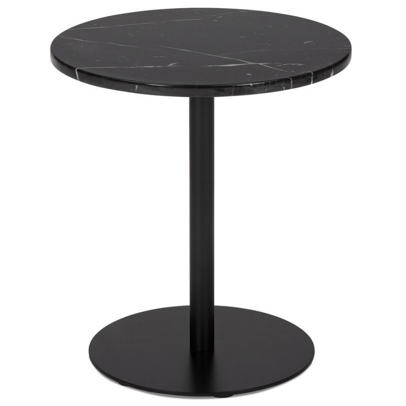 Table d'appoint design ronde en marbre ROXANE (noir)