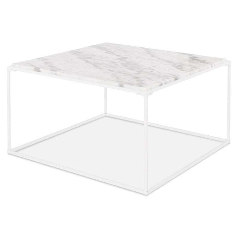 Table basse design en pierre marbrée ROBYN (blanc) - image 48418