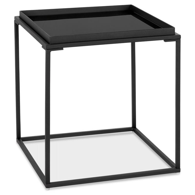 RAQUEL MINI glass and metal design side table (black)
