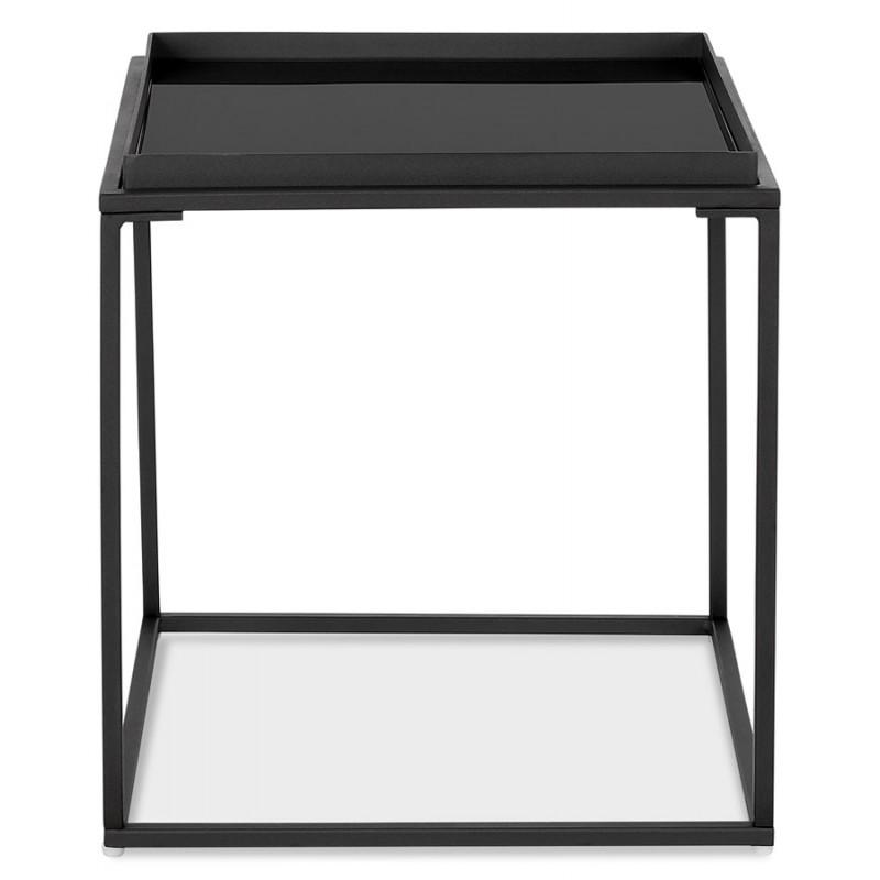 RAQUEL MINI glass and metal design side table (black) - image 48426