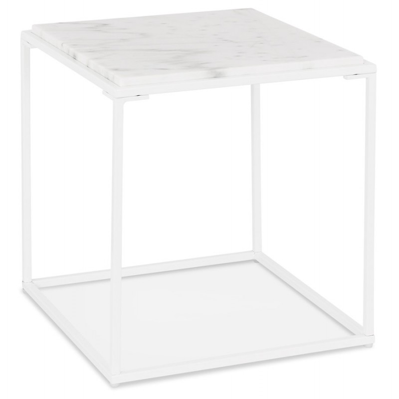 ROBYN MINI marbled stone design side coffee table (white)