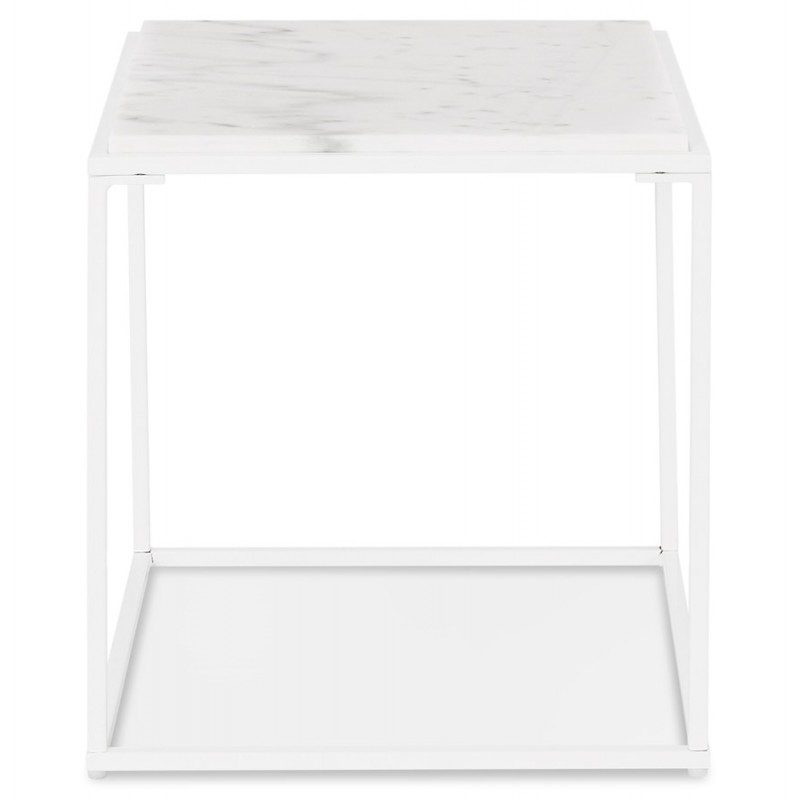 ROBYN MINI marbled stone design side coffee table (white) - image 48437