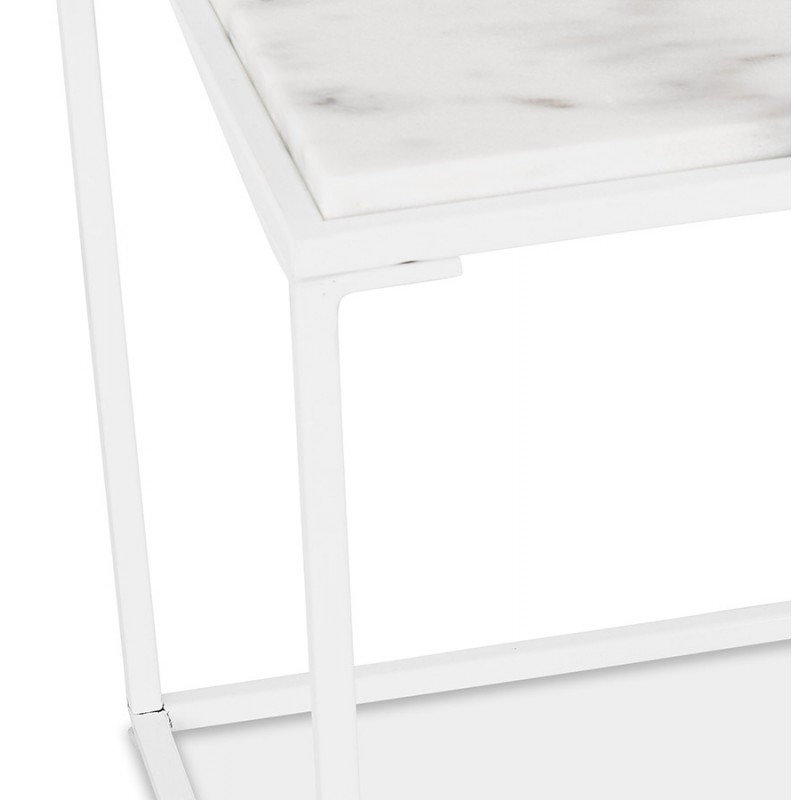 ROBYN MINI marbled stone design side coffee table (white) - image 48443